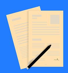 Bildbeschreibung: Auf dem Foto sind 2 beschriebene Seiten Papier eines Antrages zu sehen, auf denen ein Stift liegt. Ende der Bildbeschreibung