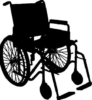 Bild: Auf dem Bild ist ein schwarzer Rollstuhl auf weißem Grund zu sehen.
