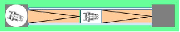 Das Bild zeigt die Skizze einer Rampe aus der Sichtposition von oben (Draufsicht). Die waagerecht verlaufende Rampe besteht aus zwei Rampenläufen. Zwischen beiden Rampenläufen ist ein Zwischenpodest angeordnet. Am Anfang und Ende der Rampe ist jeweils eine Bewegungsfläche vorhanden. Zur Veranschaulichung wurde auf der linken Bewegungsfläche sowie auf dem Zwischenpodest jeweils ein Rollstuhl eingezeichnet.