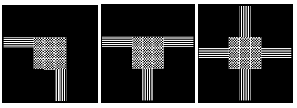 Bildbeschreibung: Das Bild 14 zeigt drei mögliche Beispiele für Anordnungsformen der Abzweigefelder: links: rechtwinklige Richtungsänderung, mittig: eine rechtwinklige Abzweigung, rechts: Einmündung von 4 Leitstreifen in ein Abzweigefeld. Ende der Bildbeschreibung.
