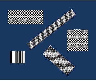 Bildbeschreibung: Das Bild zeigt einige Blindenleitsystemelemente wie beispielsweise Leitstreifen, Auffindestreifen zu seitlich gelegenen Zielen und ein Aufmerksamkeitsfeld. Ende der Bildbeschreibung