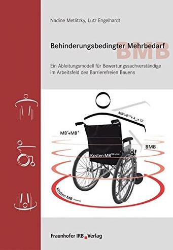 Bildbeschreibung: Das Bild zeigt das Cover des Buches Behinderungsbedingter Mehrbedarf von Nadine Metlitzky und Lutz Engelhardt. Auf dem Bild befindet sich links ein breiter senkrechter roter Streifen, auf dem Piktogramme vom Rollstuhl abgebildet sind. In der Bildmitte befindet sich ein Rollstuhl mit einer schemenhaft dargestellten Person. Mehrere rote Kreise um den Rollstuhl herum deuten den Weg an. Im oberen Drittel des Bildes befindet sich auf grauem Hintergrund der Buchtitel. Ende der Bildbeschreibung.