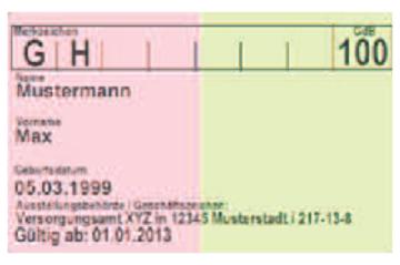 Bildbeschreibung: Das Bild zeigt die Rückseite eines Schwerbehindertenausweises. Der Ausweis ist zweifarbig, die linke Hälfte ist rosa und die rechte Hälfte ist hellgrün. Oben links sind die Merkzeichen G und H eingetragen und recht s oben der Grad der Behinderung von 100. Auf der linken Seite unterhalb der Merkzeichen sind noch Daten des Ausweisbesitzers wie Name und Gültigkeit des Ausweises angegeben. Ende der Bildbeschreibung.