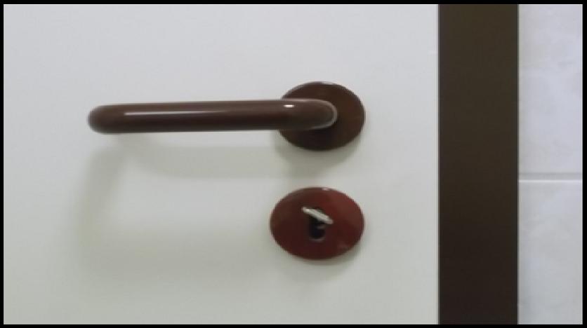 Bildbeschreibung: Das Bild zeigt eine dunkelfarbige Türklinke vor einem weißen Türblatt. Ende der Bildbeschreibung.