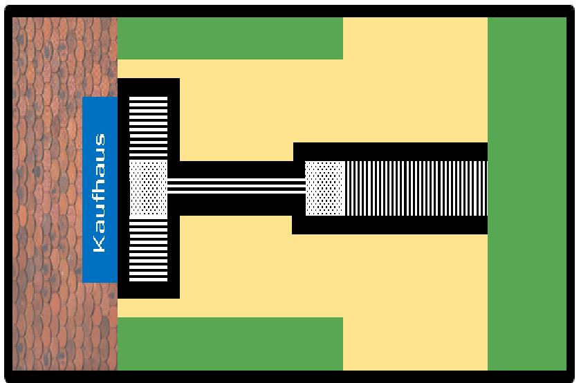 Bildbeschreibung: Bild 1 zeigt die schematische Darstellung (Draufsicht) von Blindenleitsystemelementen zur Führung von einem breiten Gehweg zum Eingang eines seitlich gelegenen Einkaufzentrums. Ende der Bildbeschreibung.
