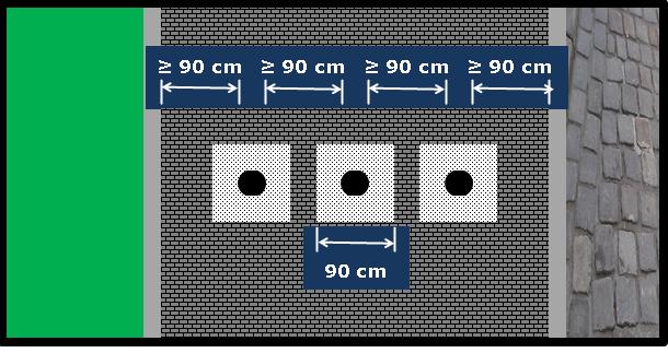 Bildbeschreibung: Das Bild 7 zeigt drei, quer über die nutzbare Gehwegbreite angeordnete Sperrpfosten, die in einem Aufmerksamkeitsfeld stehen. Ende der Bildbeschreibung.