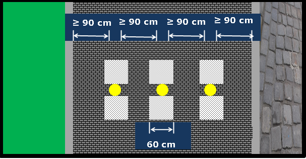 Bildbeschreibung: Das Bild 8 zeigt drei, quer über die nutzbare Gehwegbreite angeordnete Sperrpfosten, die jeweils zwischen zwei Aufmerksamkeitsfeldern stehen. Ende der Bildbeschreibung.