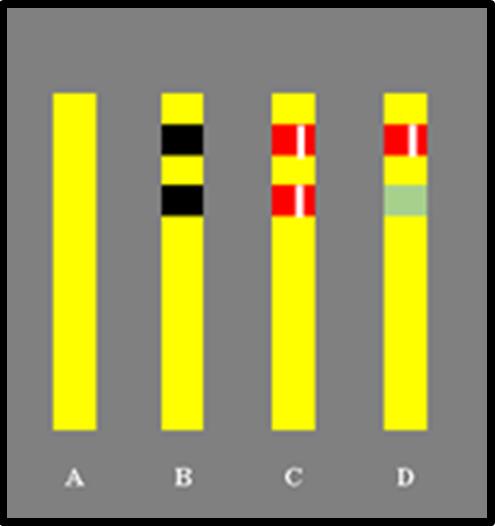 Bildbeschreibung: Das Bild 6 zeigt vier nebeneinander stehende gelbe Sperrpfosten vor einem grauen Hintergrund. Der dem jeweiligen Sperrpfosten zugewiesene Buchstabe steht unter diesen. Ende der Bildbeschreibung.