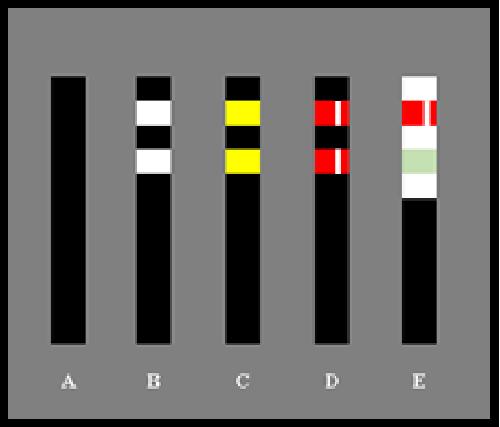 Bildbeschreibung: Das Bild 5 zeigt fünf nebeneinander stehende schwarze Sperrpfosten vor einem grauen Hintergrund. Der dem jeweiligen Sperrpfosten zugewiesene Buchstabe steht unter diesen. Ende der Bildbeschreibung.
