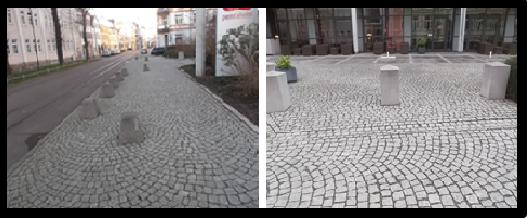 Bildbeschreibung: Das Bild 11 zeigt zwei Fotos mit Steinpollern, die teilweise parallel zur Gehwegkante und in der nutzbaren Gehwegbreite angeordnet wurden. Ende der Bildbeschreibung.
