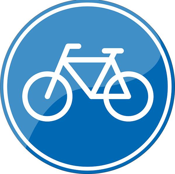 Bildbeschreibung: Bild 5 zeigt ein rundes Verkehrszeichen mit weiß auf blauen Hintergrund abgebildeten Fahrrad. Ende der Bildbeschreibung.