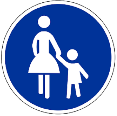 Bildbeschreibung: Bild 2 zeigt ein rundes Verkehrszeichen mit weiß auf blauen Hintergrund abgebildeten Frau (links) mit Kind (rechts). Ende der Bildbeschreibung.