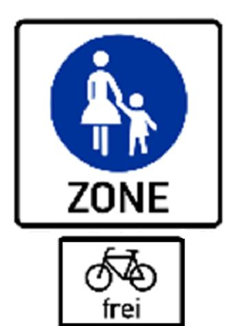 """Bildbeschreibung: Bild 4 zeigt ein weißes rechteckiges Schild mit einer schwarzen Umrahmung. In dessen Mitte befindet sich Zeichen 239. Unter Zeichen 239 steht das Wort """"ZONE"""" in schwarzen Großbuchstaben auf weißen Hintergrund. Unterhalb dieses Schildes ist zusätzlich ein weißes rechteckiges Schild mit schwarzem Rahmen angeordnet. In dessen Mitte ist ein schwarzes Fahrrad abgebildet, worunter das Wörtchen """"frei"""" in schwarzen Kleinbuchstaben steht. Ende der Bildbeschreibung."""