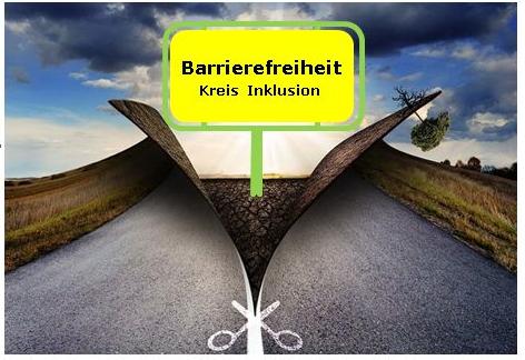 Das Bild zeigt eine mittig aufgeschnittene Straße. mit Orteingangsschild mit der Beschriftung Barrierefreiheit - Kreis Inklusion.