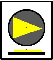 Bildbeschreibung: Bild 2: Draufsicht und Querschnitt eines nach rechts weisenden Richtungspfeils mit Zusatzinformation auf einen runden taktilen Freigabesignalgeber. Ende der Beschreibung.