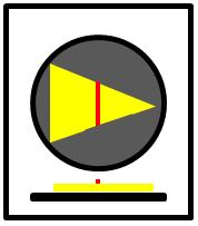 Bildbeschreibung: Bild 3: Draufsicht und Querschnitt eines nach rechts weisenden Richtungspfeils mit Zusatzinformation auf einen runden taktilen Freigabesignalgeber. Ende der Beschreibung.