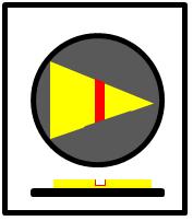 Bildbeschreibung: Bild 4: Draufsicht und Querschnitt eines nach rechts weisenden Richtungspfeils mit Zusatzinformation auf einen runden taktilen Freigabesignalgeber. Ende der Beschreibung.