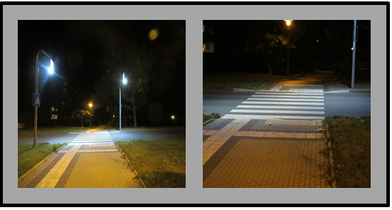 Bild 2: Doppelbild: links: gesamter Überweg einschließlich Anordnung der Straßenleuchten; rechts: Blick auf Boden des Fußgängerüberweges